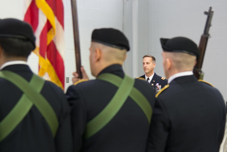 LANCASTER, Pa. – The Commander of the 800th Logistics Support Brigade, Col. Bradly Boganowski, encourages the Soldiers of the 3rd Battalion 319th Regiment to use this as an opportunity to share their skills across the Army during the unit's deactivation ceremony held here on Dec. 17, 2016. The ceremony marks the closing of the unit as part of a larger restructuring of the 800th Logistics Support Brigade, headquartered in Mustang, Oklahoma.