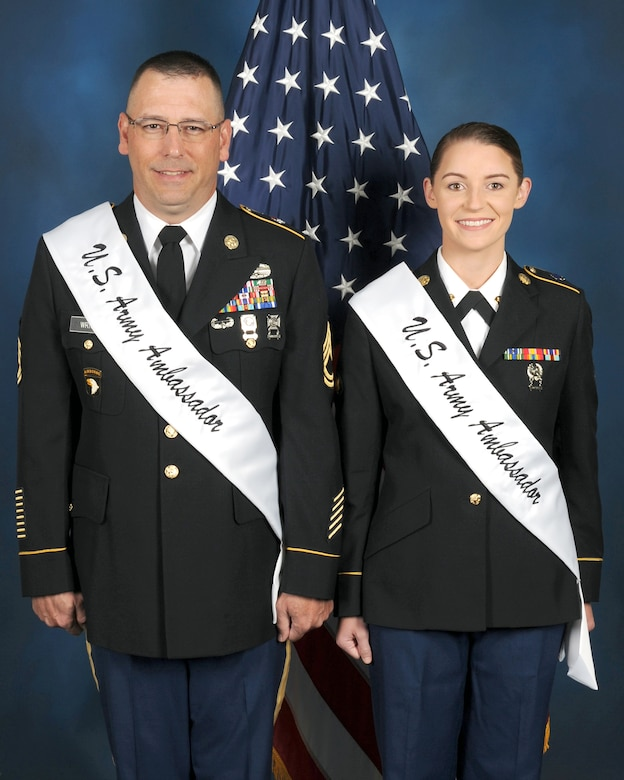 Sgt. 1st Class Lee M. Wright and Spc. Catherine L. Trisch are the 2017 U.S. Army Military Ambassadors fro Joint Base San Antonio.