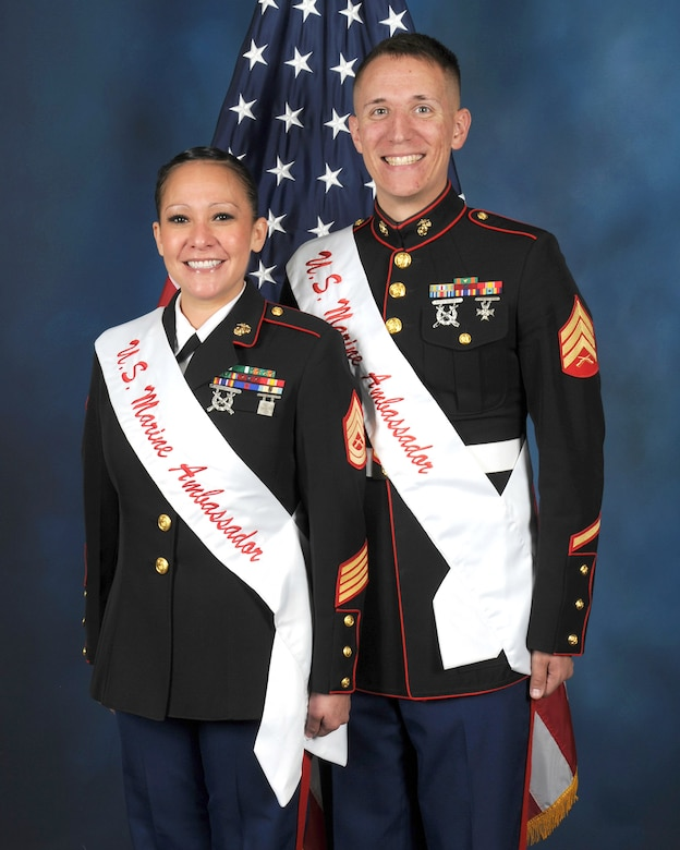 Gunnery Sgt. Tajanna Draher and Sgt. Keven D. Beasley are the 2017 U.S. Marines Military Ambassadors for Joint Base San Antonio.
