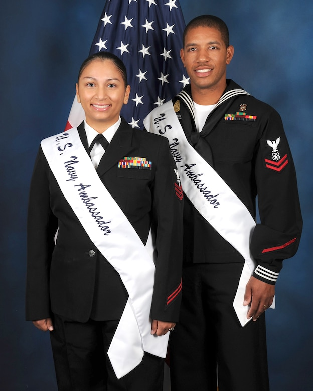 Petty Officer 1st Class Cindy Gallego and Petty Officer 2nd Class Adonis M. Lowery are the 2017 U.S. Navy Military Ambassadors for Joint Base San Antonio.