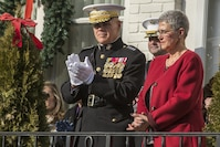 Commandant of the Marine Corps Gen. Robert B. Neller applauds during the 2017 Surprise Serenade at the Home of the Commandants, Washington, D.C., Jan. 1, 2017. The Surprise Serenade is a tradition that dates back to the mid-1800's in which the U.S. Marine Band performs music for the Commandant of the Marine Corps at his home on New Years Day.
