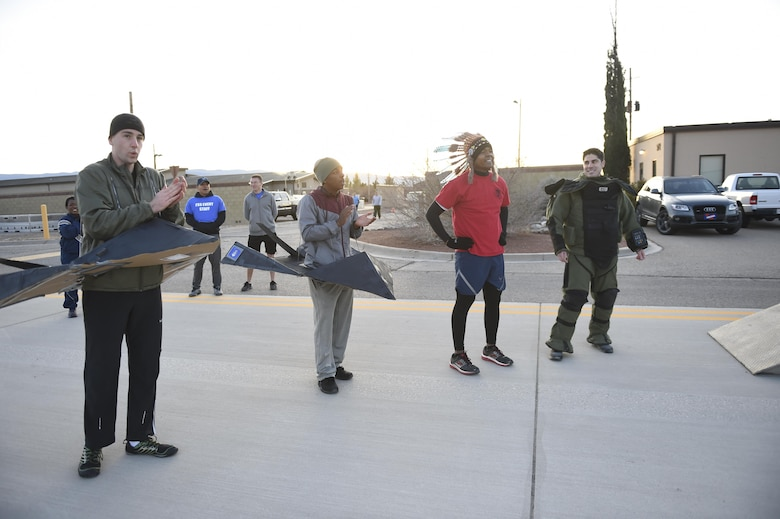 Holloman Air Force Base participated in the Proud to be a 49'er Fun Run Jan. 3, 2017 to ring in the New Year. The run was held on the flight line with an option to run 1.5 mile or a 5K. Participants were encouraged to show their pride by wearing anything that demonstrated their Air Force pride, such as a favorite team jersey or a fun costume. (U.S. Air Force photo by Staff Sgt. Stacy Jonsgaard)