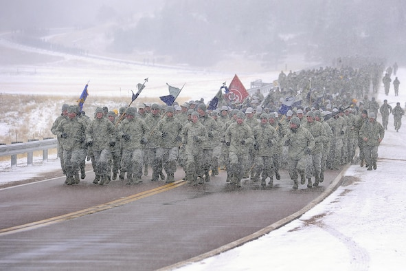 Class brave freezing temperatures and snow at the U.S. Air Force Academy. (U.S. Air Force Photo/Sarah Chambers)