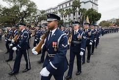 More than 90 members of the U.S. Air Force Honor Guard performed in the Allstate Sugar Bowl New Years Eve Parade in New Orleans, LA, Dec. 31, 2016.  The event is part of the Allstate Sugar Bowl celebration that leads to the game between the Auburn Tigers and Oklahoma Sooners on Jan. 2., 2017.
