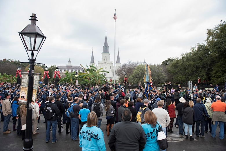 The U.S. Air Force Honor Guard formation marches past the St. Louis Cathedral during the Allstate Sugar Bowl New Years Eve Parade in New Orleans, LA, Dec. 31, 2016.  The parade consisted of floats, bands, marching units and other performers to entertain fans prior to the Allstate Sugar Bowl between the Auburn Tigers and Oklahoma Sooners on Jan. 2, 2017.