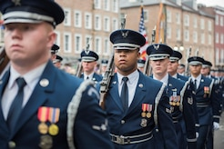 Airman 1st Class Davian Harris, U.S. Air Force Honor Guard ceremonial guardsman, marches in formation Allstate Sugar Bowl New Years Eve Parade in New Orleans, LA, Dec. 31, 2016. More than 90 members of the USAF HG performed in the event, which was held in celebration of the Allstate Sugar Bowl, where the Auburn Tigers and Oklahoma Sooners will battle for the cup, Jan 2., 2017.
