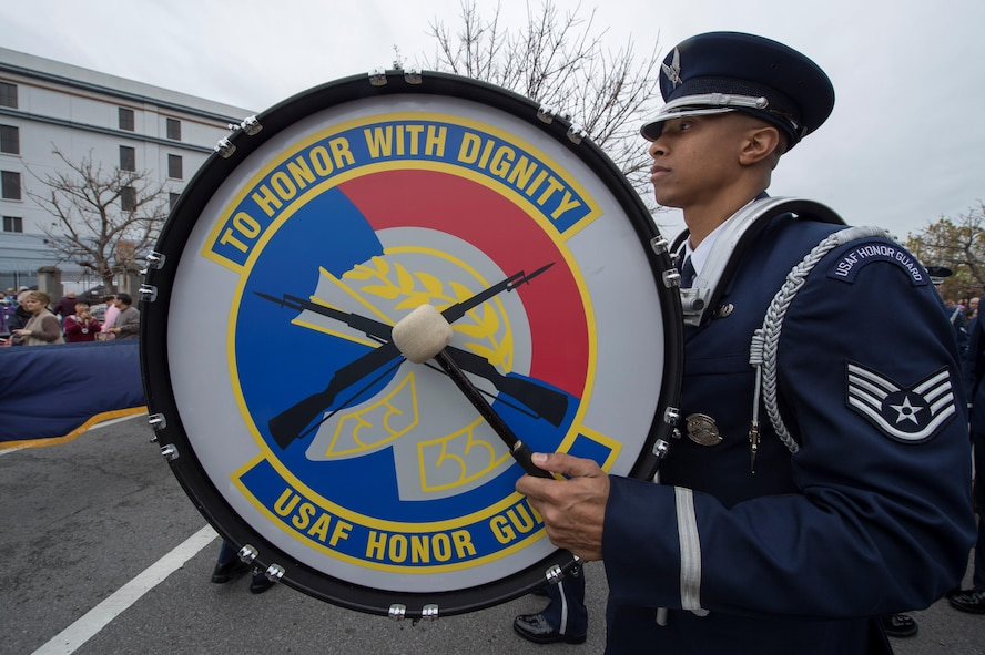 Staff Sgt. Thomas Anderson, U.S. Air Force Honor Guard ceremonial guardsman, prepares to march during the Allstate Sugar Bowl New Years Eve Parade in New Orleans, LA, Dec. 31, 2016.  The parade consisted of floats, bands, marching units and other performers to entertain fans prior to the Allstate Sugar Bowl between the Auburn Tigers and Oklahoma Sooners on Jan. 2, 2017.