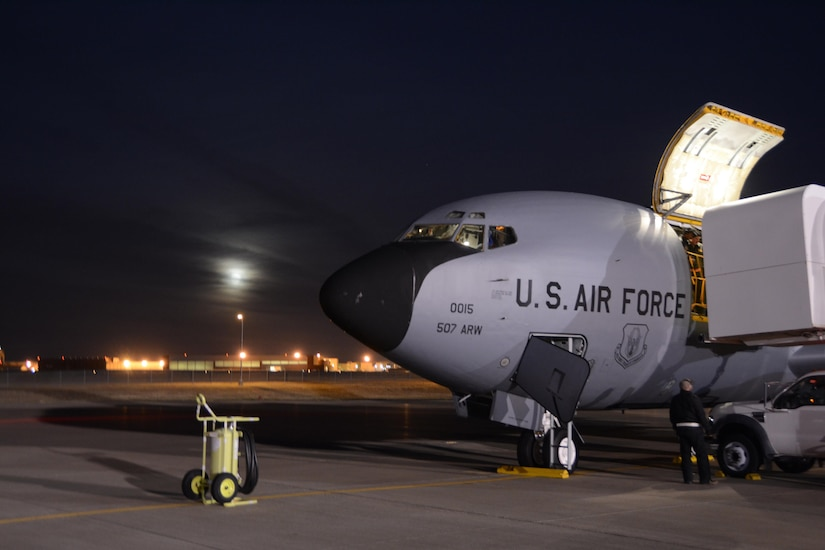 A 507th Air Refueling Wing KC-135R Stratotanker from Tinker Air Force Base, Oklahoma is loaded with cargo and prepped prior to delivering some of the 94 Citizen Airmen to Incirlik Air Base, Turkey to support air refueling operations against ISIL, December 13, 2016. (U.S. Air Force Photo/Maj. Jon Quinlan)