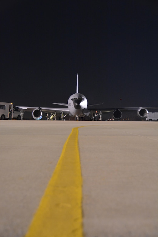 A 507th Air Refueling Wing KC-135R Stratotanker from Tinker Air Force Base, Oklahoma starts its engines as it prepares to take some of the 94 Citizen Airman and cargo to Turkey to support on-going air refueling operations in Southwest Asia here December 13, 2016. (U.S. Air Force Photo/Maj. Jon Quinlan)