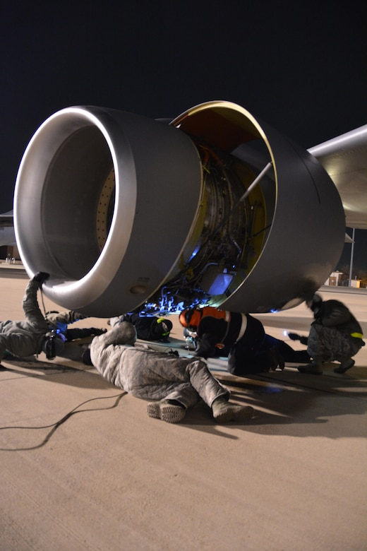 Maintenance crews from the 507th Maintenance Group troubleshoot the number three engine of a KC-135R Stratotanker at Tinker Air Force Base, Oklahoma prior to the flight leaving for a deployment to Incirlik Air Base, Turkey.  The engine issue was quickly resolved and the aircraft departed with Citizen Airmen and cargo December 13, 2016 to the deployed location to support on-going air refueling operations in Southwest Asia.  (U.S. Air Force Photo/Maj. Jon Quinlan)