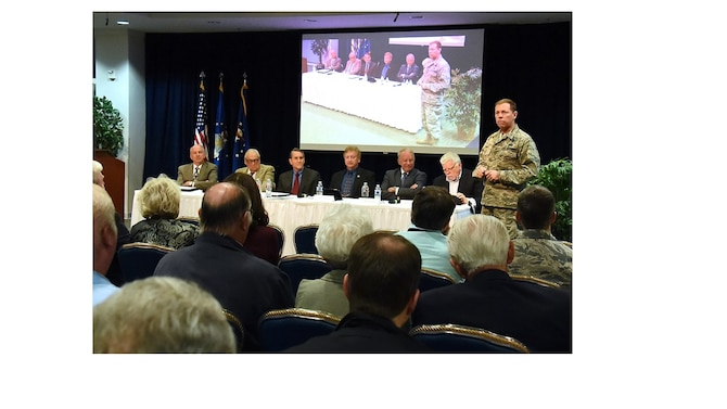 Brig. Gen. Mark Baird, vice commander of the Space and Missile Systems Center at Los Angeles Air Force Base, California, addresses the audience attending the 2016 Legacy Panel, hosted by the Secretary of the Air Force Special Projects. Headlining this year's panel were six retired Air Force officers: from left to right, Lt. Gen. Mike Hamel, Maj. Gen. John Kulpa, Jr., and Cols. William Pailes, Daryl Joseph, Cols. Gary Payton, and Brett Watterson, who discussed the Manned Spaceflight Engineer program, an elite corps of military astronauts specializing in deploying top-secret payloads that the National Reconnaissance Office and Space Division, forerunner of today's SMC. The annual event offered a unique opportunity to hear from distinguished individuals who have been to space or had a significant impact on military space operations. (U.S. Air Force photo/Joseph Juarez, Jr.)
