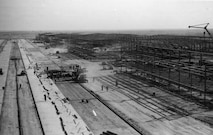 Sheppard Air Force Base's airfield and hangars are shown under construction in 1941. Some of these hangars are still in daily use today, housing crew chief technical training courses for various fighter and heavy aircraft. (Courtesy Photo)