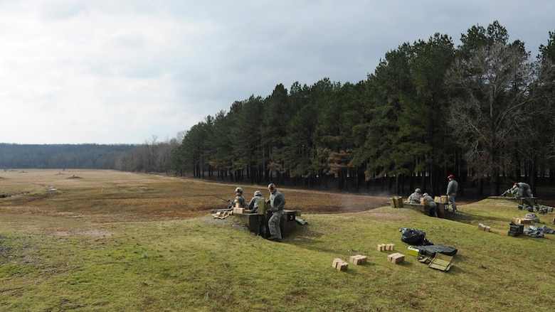 U.S. Air Force Airmen from the 19th Security Forces Squadron and 189th Security Forces Squadron simultaneously work together during M240B machine gun training, February 24, 2016, at Camp Joseph T. Robinson, Ark. Security Forces Defenders must routinely qualify on a variety of weapons and ranges. (U.S. Air Force photo/Senior Airman Harry Brexel)