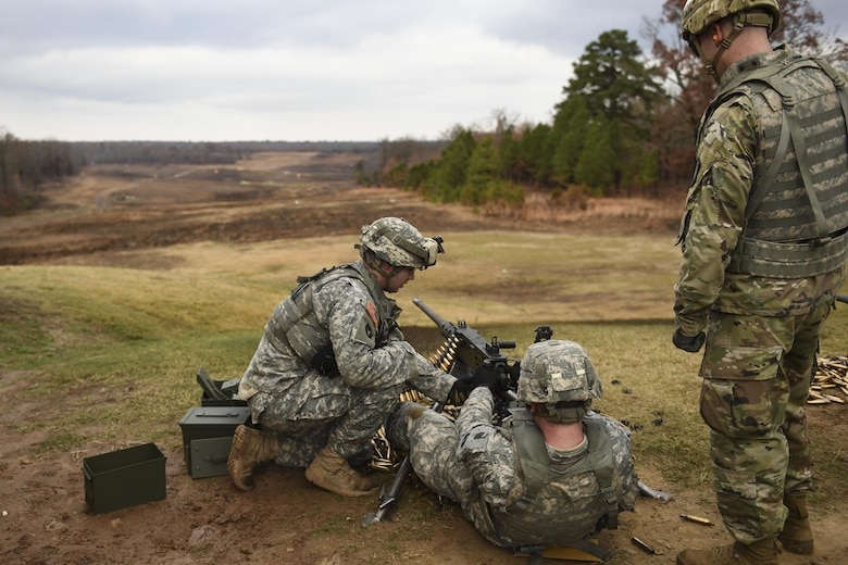 U.S. Army Soldiers from the Arkansas National Guard train on the M2 .50 caliber machine gun December 6, 2016, at Camp Joseph T. Robinson, Ark. The M2 crew-served machine gun, was first introduced in the 1930's and has both a lethal and psychological effect upon enemies. (U.S. Air Force photo/Senior Airman Harry Brexel)