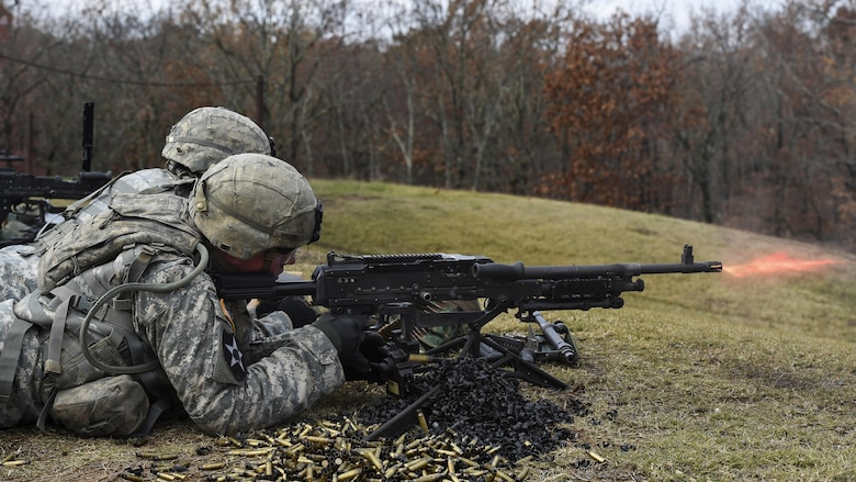 U.S. Army Soldiers from the Arkansas National Guard train with a M240B machine gun December 6, 2016, at Camp Joseph T. Robinson, Ark. The Army National Guard maintains 30 ranges supporting 29 different weapon platforms, and recently invested nearly $28 million toward multiple state-of-the-art training compounds.  (U.S. Air Force photo/Senior Airman Harry Brexel)