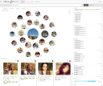 Part of the Memex suite of tools, Tellfinder reveals trafficking activity and summarizes the behavior of and relationships between the entities that post them. DARPA graphic