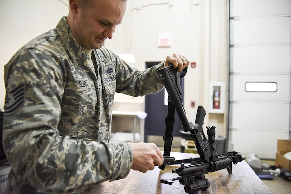 U.S. Air Force 189th Air National Guard Tech. Sgt. Jacob Ellis, 189th Security Forces Squadron Defender, was nominated as the Combat Airlifter of the Week January 2, 2017, at Little Rock Air Force Base, Ark. Ellis displays the core value of Excellence in All We Do through the way he listens and behaves. (U.S. Air Force photo by Tech. Sgt. Jessica Condit)