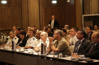 PERU (May 11, 2016) -- Adm. Kurt Tidd, commander of U.S. Southern Command (SOUTHCOM), center, and other senior military leaders and government representatives listen to a security briefing during the final day of the Fuerzas Comando 2016 Senior Leader Seminar May 11. More than 40 high-ranking officials from 20 nations attended the seminar for talks on counterterrorism decisions and policymaking, organized crime and illicit trafficking. (Photo by Jose Ruiz)