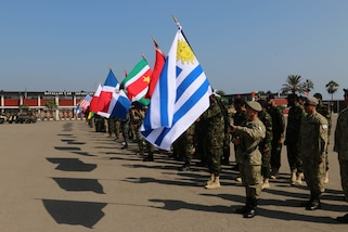 Special forces from 20 countries across Central and South America participated in Fuerzas Comando 2016 Opening Ceremony on May 2, 2016 in Ancon, Peru. Fuerzas Comando 2016 is a USSOUTHCOM-sponsored exercise hosted by the Republic of Peru from May 2-12.  Fuerzas Comando 2016 allows participating countries to train through friendly competition while promoting military-to-military relationships and increasing training knowledge. (U.S. Army photo by Staff Sgt. Fredrick Varney/Released)