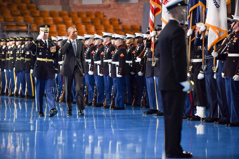 Departing commander in chief, President Barack Obama, salutes the troops during an armed forces full honor farewell ceremony at Joint Base Myer-Henderson Hall, Va., Jan. 4, 2017. Service members from across the services took part in the event, which included Defense Secretary Ash Carter and the chairman of the Joint Chiefs of Staff, Marine Corps Gen. Joe Dunford. Senior defense leaders thanked Obama for his accomplishments over the past eight years in protecting the nation and supporting the military. Army photo by Pvt. Gabriel A. Silva