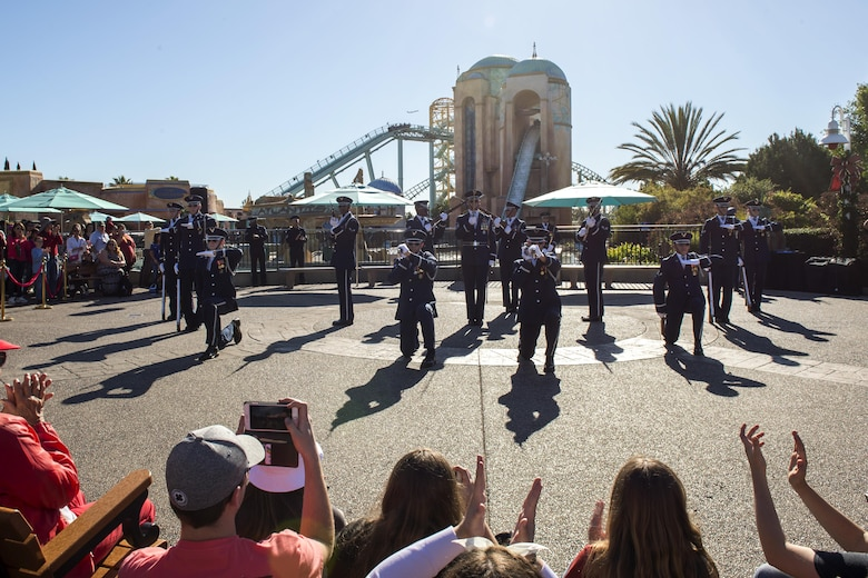 The U.S. Air Force Honor Guard Drill Team performs for Sea World guests in San Diego, Calif., Dec. 29, 2016. The drill team spent five days in southern California to help kick off the year-long celebration of the Air Force's 70th Birthday. (U.S. Air Force photo by Senior Airman Philip Bryant)