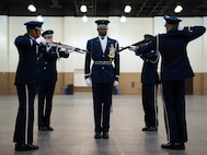 U.S. Air Force Honor Guard Drill Team members perform a four-man routine at the Live on Green event in Pasadena, Calif., Dec. 30, 2016. The Live on Green event is held annually as a celebration leading up to the Rose Parade and Rose Bowl Game. (U.S. Air Force photo by Senior Airman Philip Bryant)