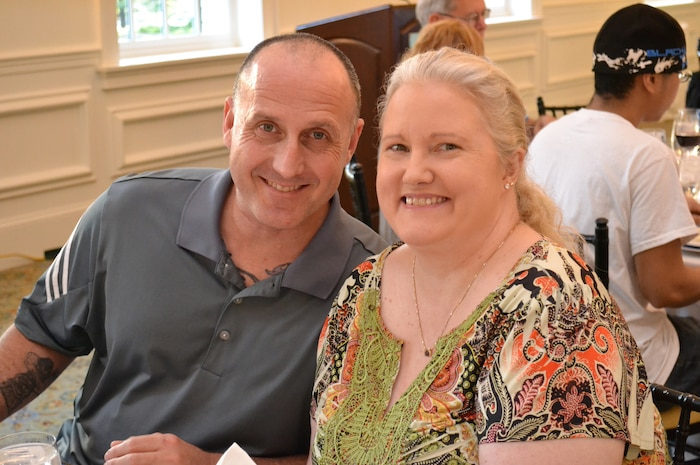 Master Sgt. Clifford Farmer and wife Shaun attend a dinner in September 2016, in Arlington, Va. Farmer has four combat tours under his belt and years of experience as an explosive ordnance disposal technician. Today, he battles post-traumatic stress disorder and depression, and urges leaders across the Marine Corps to show understanding and compassion for Marines who may be suffering. (Courtesy photo)