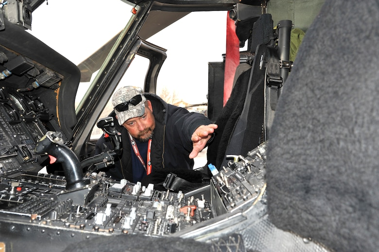 Dominic Carani, M1 Support Services maintainer, discusses modifications made to the cockpit of aircraft 644 over its 34 years in the active Air Force inventory.