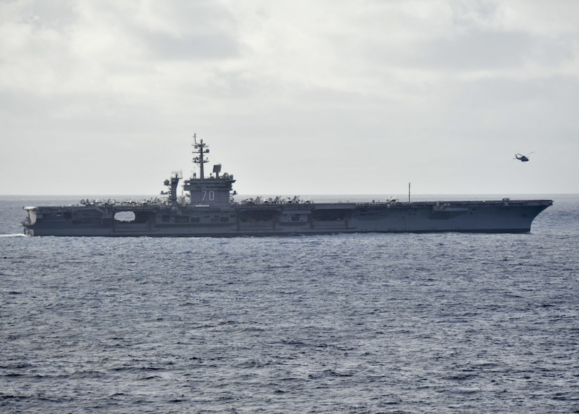The aircraft carrier USS Carl Vinson cruises on the Pacific Ocean, Oct. 31, 2016. Navy photo by Kenneth J. Blair
