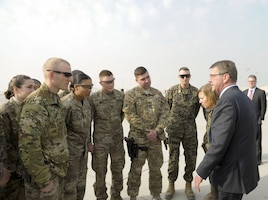 Defense Secretary Ash Carter speaks with service members at Bagram Airfield, Afghanistan, Dec. 9, 2016. DoD photo by Ben Santos