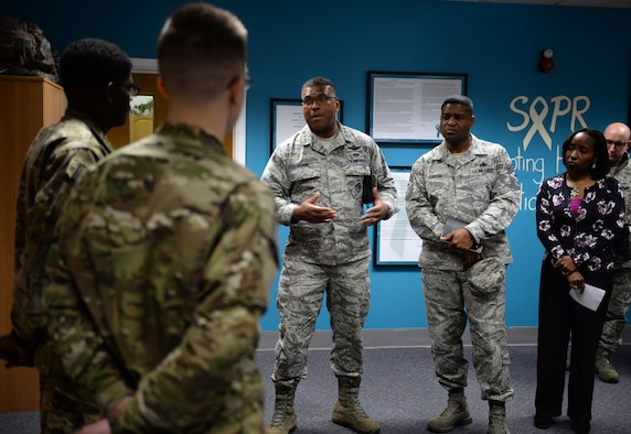 U.S. Air Force Lt. Gen. Richard Clark, center, 3rd Air Force commander, and U.S. Air Force Chief Master Sgt. Phillip Easton, 3rd Air Force command chief, thank Team Mildenhall Airmen for their involvement with the Sexual Assault Prevention Response team Jan. 5, 2016, on RAF Mildenhall, England. Clark and Easton visited units around base to get a better understanding of Team Mildenhall contribution to the fight. (U.S. Air Force photo by Senior Airman Christine Halan)