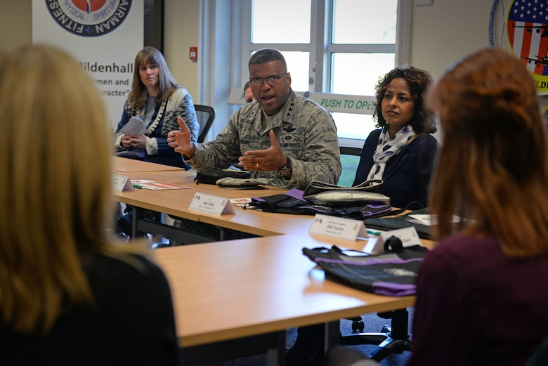 U.S. Air Force Lt. Gen. Richard Clark, 3rd Air Force commander, speaks with spouses about the RAF Mildenhall Spouses Resiliency Initiative Jan. 5, 2016, on RAF Mildenhall, England. The RAF Mildenhall Spouse Resilience Team was created to give military spouses the same opportunity as military members to embrace holistic fitness and resilience aids. (U.S. Air Force photo by Senior Airman Christine Halan)