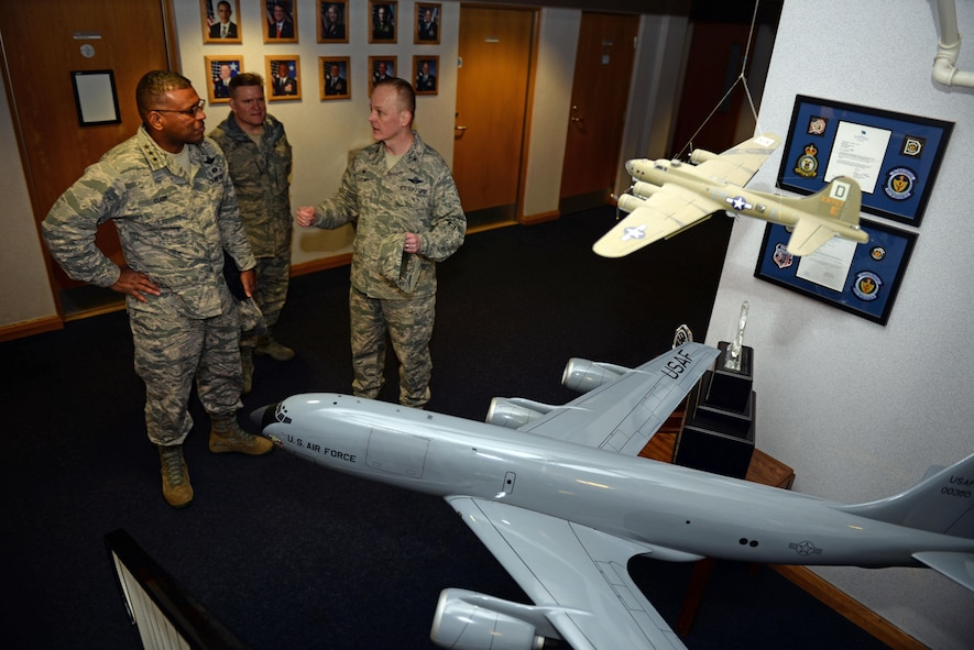 U.S. Air Force Col. Derek Salmi, right, 100th Operations Group commander, briefs U.S. Air Force Lt. Gen. Richard Clark, 3rd Air Force commander, on the flight operations during his visit Jan. 5, 2016, on RAF Mildenhall, England. Clark and Easton visited units around base to get a better understanding of Team Mildenhall contribution to the fight. (U.S. Air Force photo by Senior Airman Christine Halan)