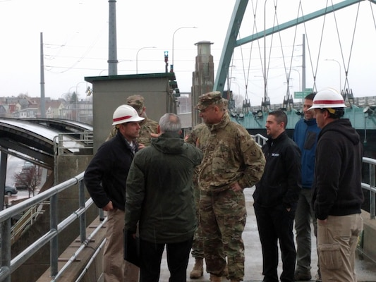 Brig. Gen. William Graham, North Atlantic Division Commander gets a tour and briefing of the Fox Point Hurricane Barrier in Providence, Rhode Island on November 29, 2016.