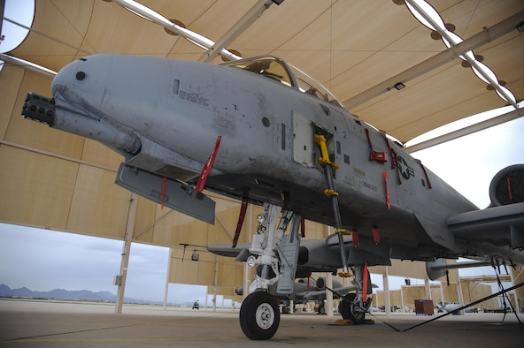 An A-10C Thunderbolt II upgraded with a new lightweight airborne recovery system V-12 rests on the flight line at Davis-Monthan Air Force Base, Ariz., Dec. 21, 2016. The LARS V-12 is designed to allow A-10 pilots a more effective means of communication with individuals on the ground such as downed pilots, pararescuemen and joint terminal attack controllers. (U.S. Air Force photo by Airman 1st Class Mya M. Crosby)