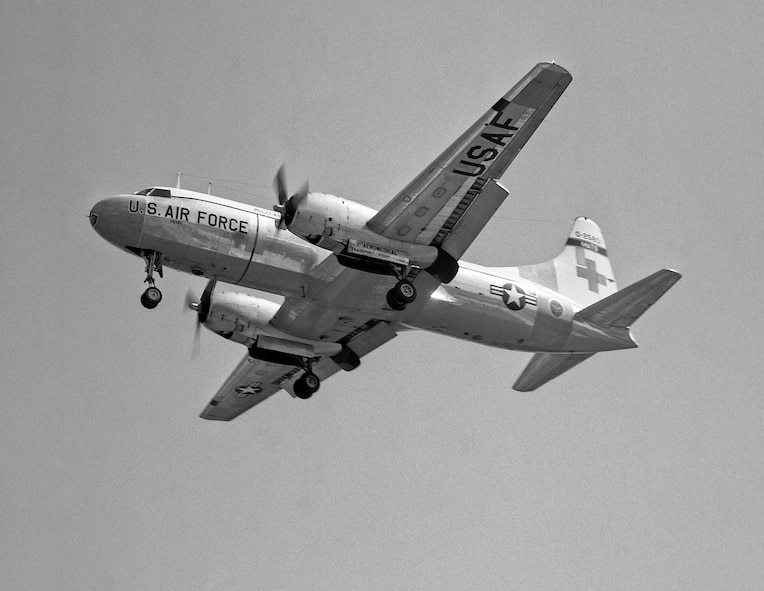 C-131 Samaritan, 1966-69: Gaining all the resources and manpower from the 1405th, the 375th was able to seamlessly take over the 1405 ATW's missions. The 375th performed, managed and trained others for aeromedical airlift, an airlift mission flown primarily with C-131A Samaritans, supported by C-118 Liftmasters. The wing maintained and scheduled air shuttle and courier services to the east and west coasts.