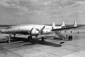 "C-121 Constellation, 1968: The C-121A was the military variant of the commercial Model 749 Constellation. Between 1948 and 1955 the USAF ordered 150 C-121As for use as cargo/passenger carriers, executive transports, and airborne early warning aircraft. As a troop carrier, they could carry a maximum of 44 passengers. Military use of the ""Connie"" spanned three wars: World War II, Korea and Vietnam and they were used extensively by both military and civilian airlines until the early 1960s. In addition, in 1967, an RC-121 was the first aircraft to provide Airborne Warning and Control intercept information to an Air Force fighter intercepting and shooting down a MiG over Vietnam."