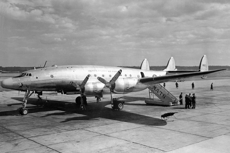 """C-121 Constellation, 1968: The C-121A was the military variant of the commercial Model 749 Constellation. Between 1948 and 1955 the USAF ordered 150 C-121As for use as cargo/passenger carriers, executive transports, and airborne early warning aircraft. As a troop carrier, they could carry a maximum of 44 passengers. Military use of the """"Connie"""" spanned three wars: World War II, Korea and Vietnam and they were used extensively by both military and civilian airlines until the early 1960s. In addition, in 1967, an RC-121 was the first aircraft to provide Airborne Warning and Control intercept information to an Air Force fighter intercepting and shooting down a MiG over Vietnam."""