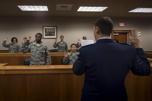 Members of the Emerge Moody course experience the procedures required to become part of a jury, Jan. 5, 2017, at Moody Air Force Base, Ga. This course assists Airmen in accomplishing three of the 23d Wing commander, Col. Thomas Kunkel's priorities of developing courageous leaders, taking care of Airmen and their families, and preparing for tomorrow. (U.S. Air Force photo by Airman 1st Class Daniel Snider)
