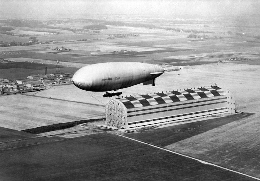 Dirigibles/Balloons, 1921-37: The 12th Balloon Company and 9th Airship Company transferred to Scott Field from Fort Omaha, Neb. Formal lighter-than-air aircraft courses began. At this time, Scott Field had balloons and two small non-rigid airships. Scott's airships, such as the TC-6 (pictured here) were housed in a facility with the distinction of being the second largest hangar in the world until 1937.