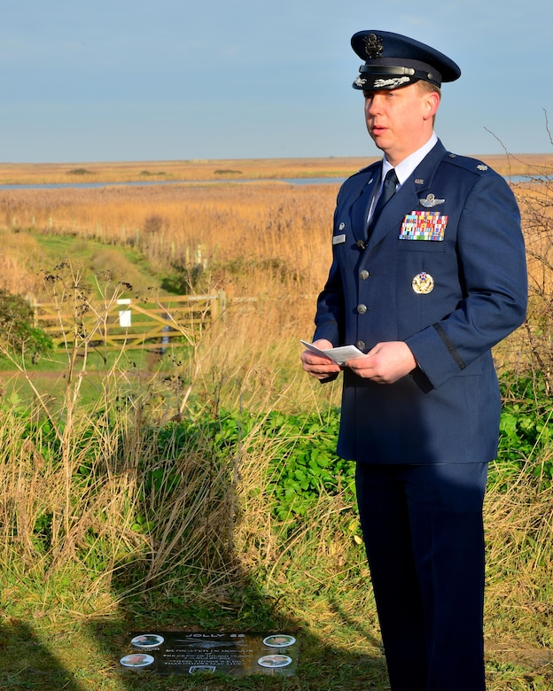 Lt. Col. Bernard Smith, 56th Rescue Squadron commander, speaks during the Jolly 22 memorial dedication, Jan. 6, 2017. Three years ago, the 56th Rescue Squadron and 48th Fighter Wing felt the tragic loss of four Liberty Airmen, when an HH-60G Pave Hawk crashed on the Norfolk coast while participating in a low-level training mission Jan. 7, 2014. (U.S. Air Force photo/Staff Sgt. Stephanie Longoria)
