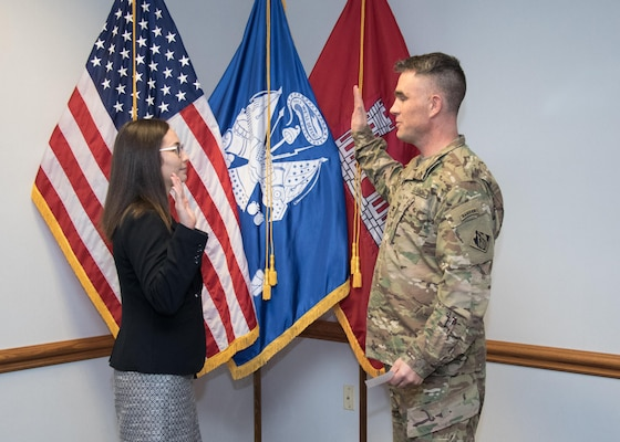 Aimee Rider, Assistant Counsel for the U.S. Army Corps of Engineers, Middle East District, was sworn in as an officer in the Army's Judge Advocate General Corps January 5.