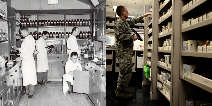 In 1943, the Scott Field hospital pharmacy supported the base's population of 20,000. The 375th Medical Group's pharmacy priority is its patrons and finding better ways to serve them in their time of need.