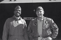 "Col. Daniel ""Chappie"" James, left, and Col. Robin Olds, commander of the 8th Tactical Fighter Wing, stand together for a photo. Colonel James was Colonel Olds' vice commander on deployment in South Vietnam in the late 1960s. (Courtesy photo)"