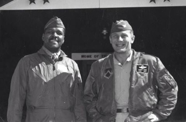 """Col. Daniel """"Chappie"""" James, left, and Col. Robin Olds, commander of the 8th Tactical Fighter Wing, stand together for a photo. Colonel James was Colonel Olds' vice commander on deployment in South Vietnam in the late 1960s. (Courtesy photo)"""