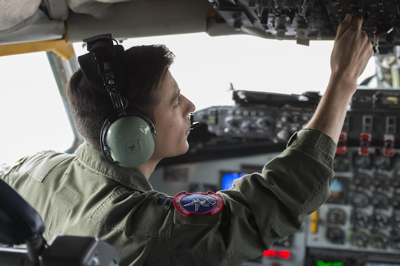 U.S. Air Force Capt. Leo Ricciotti, 93rd Air Refueling Squadron KC-135 Stratotanker pilot, prepares to take off for collaborative refueling training at Shaw Air Force Base, S.C., Dec. 21, 2016. Ricciotti and his team traveled from Fairchild Air Force Base, Wash., to participate in the training, which allowed 20th Fighter Wing F-16CM Fighting Falcon pilots to practice refueling skills under various conditions. (U.S. Air Force photo by Senior Airman Zade Vadnais)