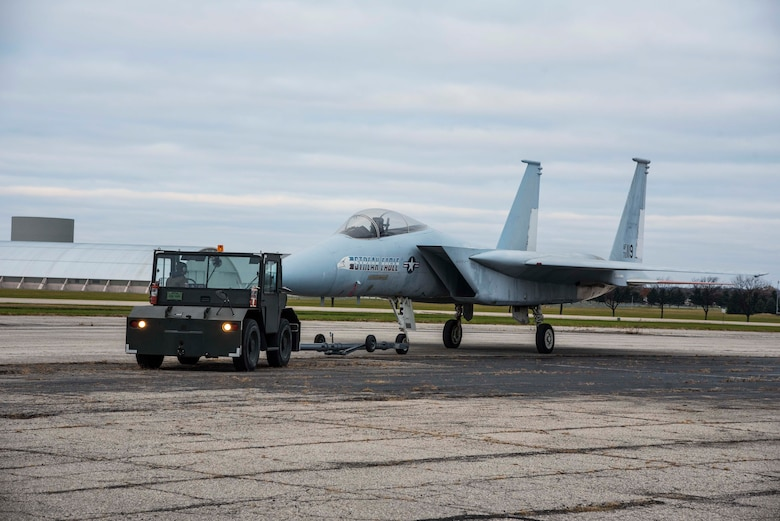 DAYTON, Ohio -- The McDonnell Douglas F-15 Streak Eagle being towed from storage to a restoration building in Nov. 2016.This aircraft can be viewed on the Behind the Scenes Tours. (U.S. Air Force photo by Ken LaRock)