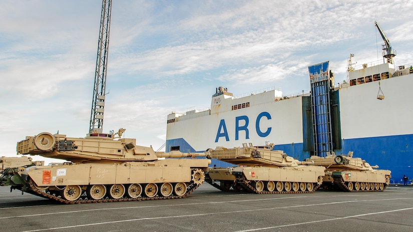 M1A2 Abrams tanks and other military vehicles belonging to the 3rd Brigade Combat Team, 4th Infantry Division disembark from the ship ARC Resolve at the port in Bremerhaven, Germany, Jan. 6, 2017. The team's arrival marks the start of back-to-back rotations of armored brigades in Europe as part of Operation Atlantic Resolve. Army photo by Staff Sgt. Micah VanDyke