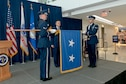 The Joint Base Andrews Honor Guard unfurls colors for Air National Guard Readiness Center Commander Maj. Gen. Michael R. Taheri, during his promotion ceremony January 2, 2017, at Joint Base Andrews, Maryland. Taheri, who has commanded the Readiness Center for the past 18 months, was promoted to the rank of major general. (U.S. Air National Guard photo by Staff Sgt. John E. Hillier)