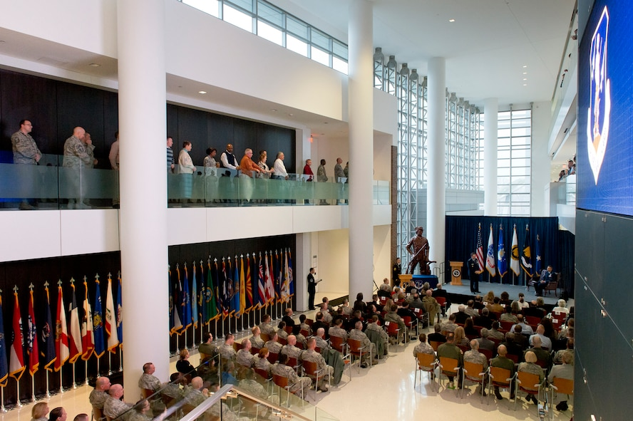 Gen. Joseph L. Lengyel, Chief, National Guard Bureau, delivers remarks during a promotion ceremony for Air National Guard Readiness Center Commander Maj. Gen. Michael R. Taheri, January 2, 2017, at Joint Base Andrews, Maryland. Taheri, who has commanded the Readiness Center for the past 18 months, was promoted to the rank of major general. (U.S. Air National Guard photo by Staff Sgt. John E. Hillier)